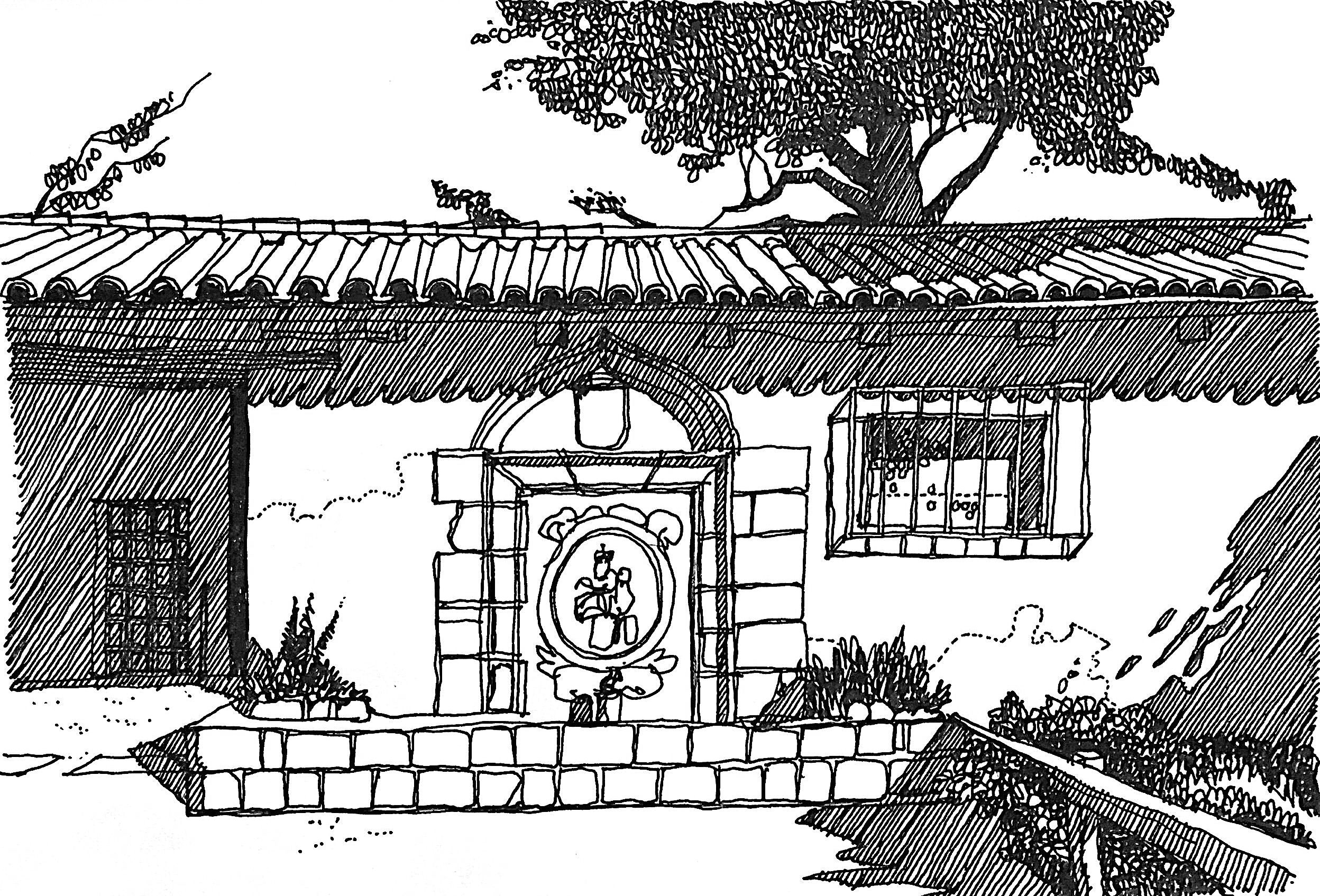 Carmel Mission, California. Hand sketch by Carlos Almeida.
