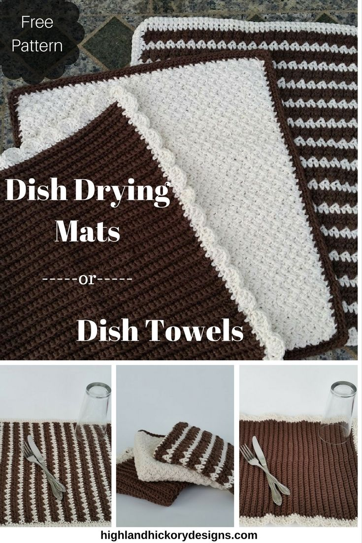 Dish drying mats or dish towels free pattern towels and dishes crochet dish drying mat or dish towel free pattern comes with three towel variations bankloansurffo Gallery