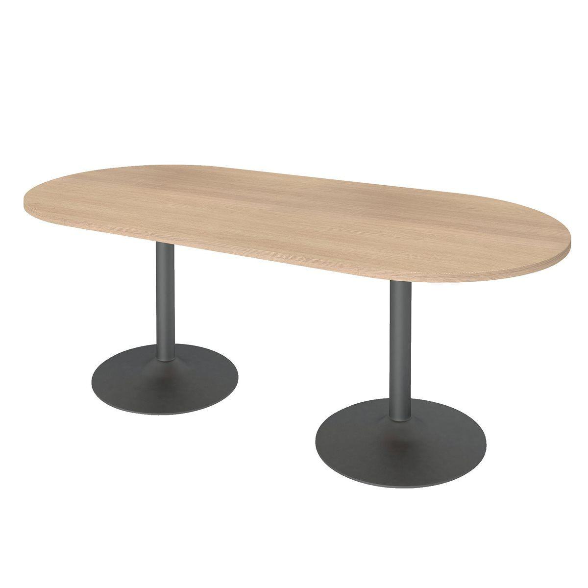 Table de réunion ovale pied colonne métal Bruneau Excellens
