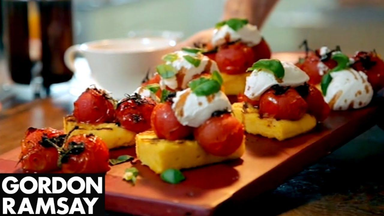 Gordon Ramsay's Grilled Polenta with Tomatoes and Goat's