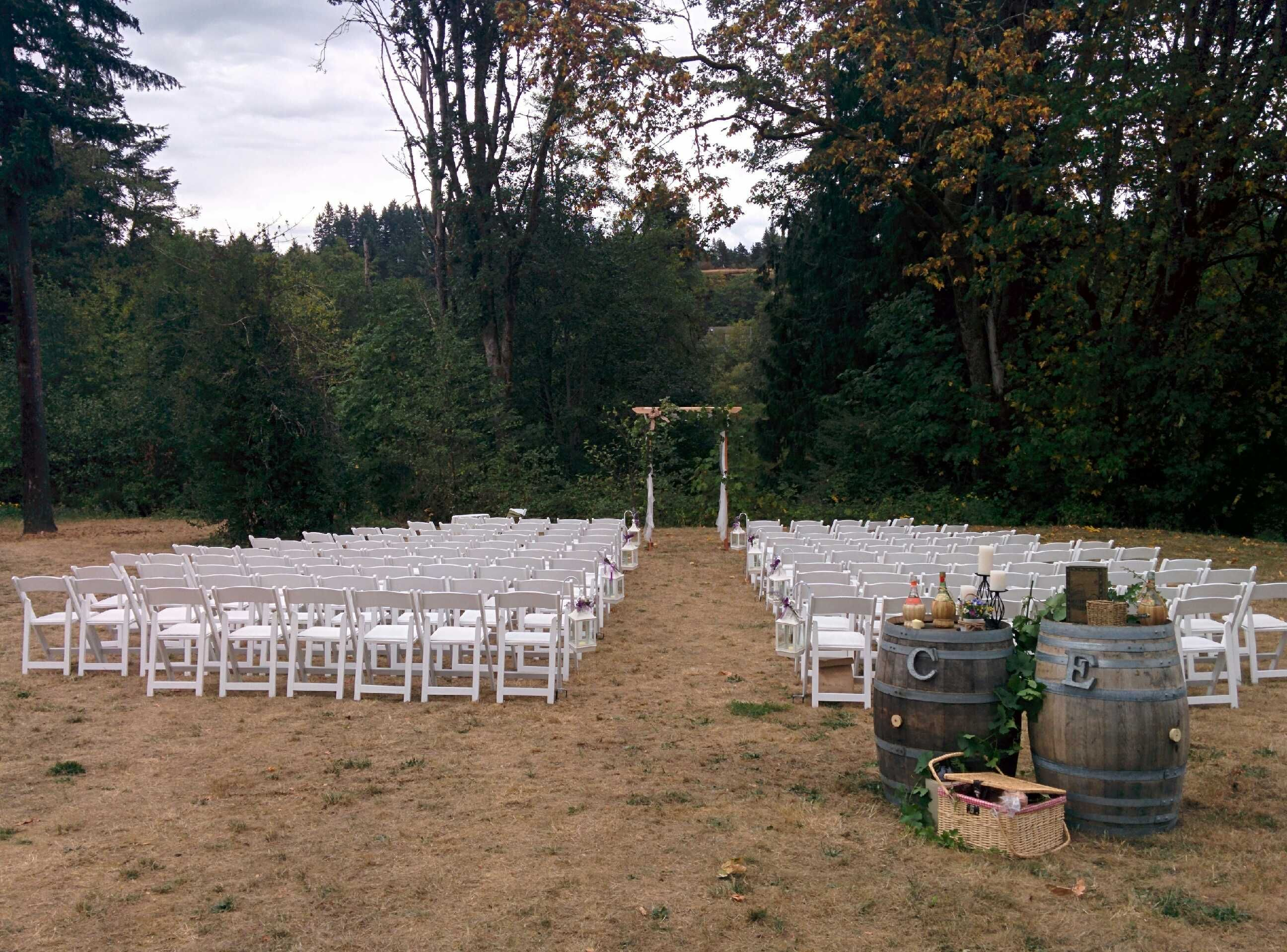 folding chair rental vancouver wicker lounge chairs pool italian theme wedding millstone winery nanaimo island bc aug 2015 decor rentals wood wine barrels ivy greenery