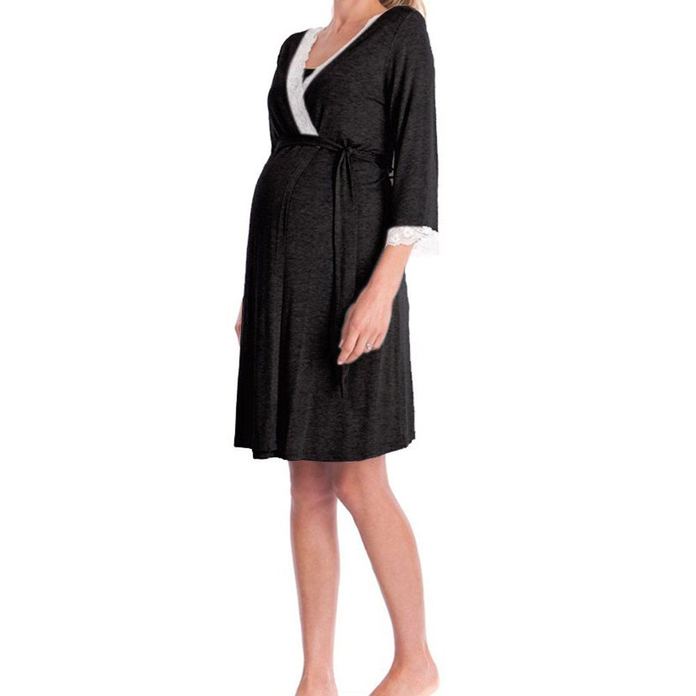a6c81eb70c9 nursing tops - FULAbao Womens Maternity Pregnancy Lace Trim Robe Delivery Nursing  Nightgowns Hospital Breastfeeding Pajamas Black XL     You can obtain ...