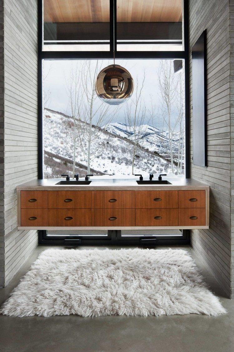 badezimmer schöne aussischt braun grau farbkombination ...