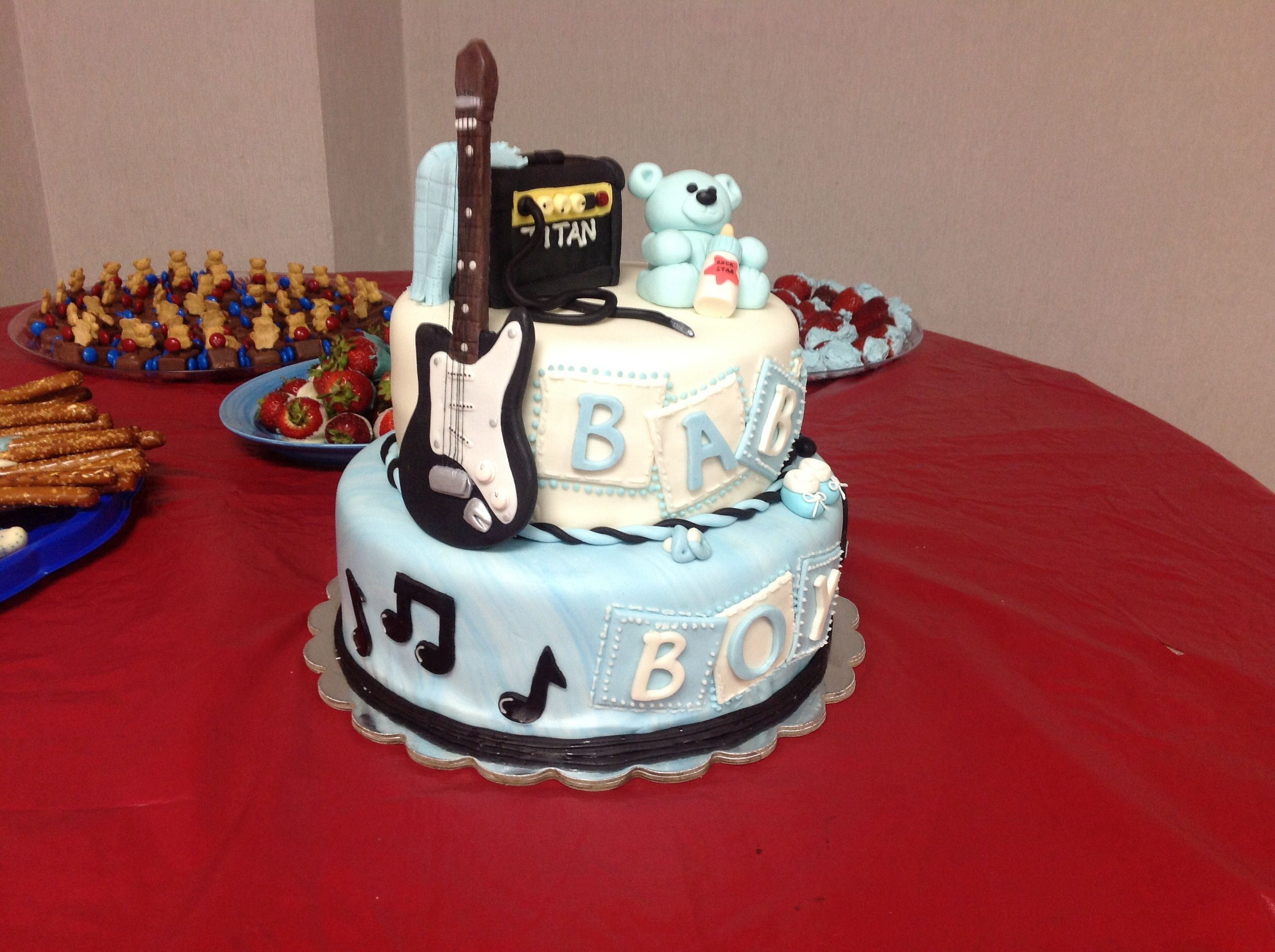 Rock n roll baby shower cake my cakes pinterest shower cakes rock n roll baby shower cake freerunsca Images