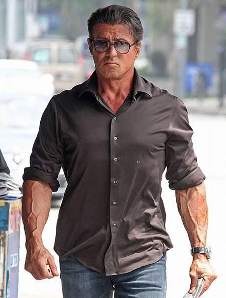 Stallone still a mountain of muscle at 65. Impressive. | Sylvester stallone,  Sylvester, Actors