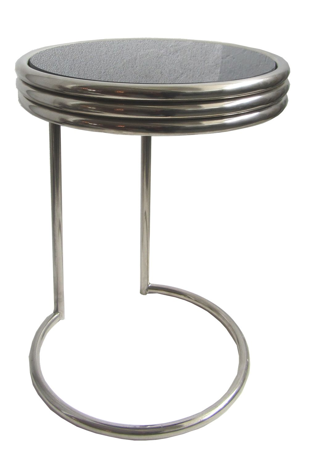 Deco Chrome And Steel Black Mirror Occasional Table, 1930s