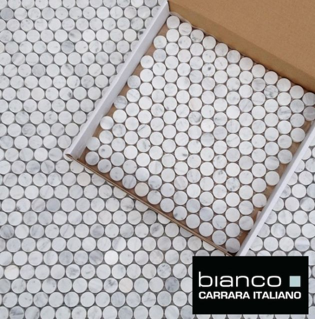 Carrara Bianco 1″ (25m) Pennyround Marble Mosaic Tile $12.95/SF available online from The Builder Depot. This is an incredible lot of mosaic sometimes it just looks good ithas a slightly li…