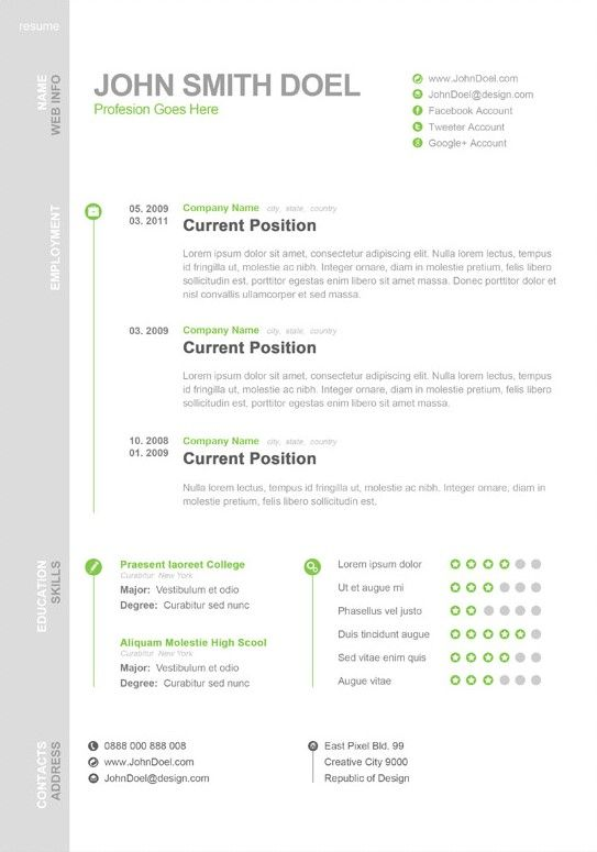 Free Digital CV Resume PSD Template John Smith Doel: Best Resume