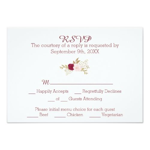 Boho Wedding Menu Bohemian Floral RSVP Card With Choice
