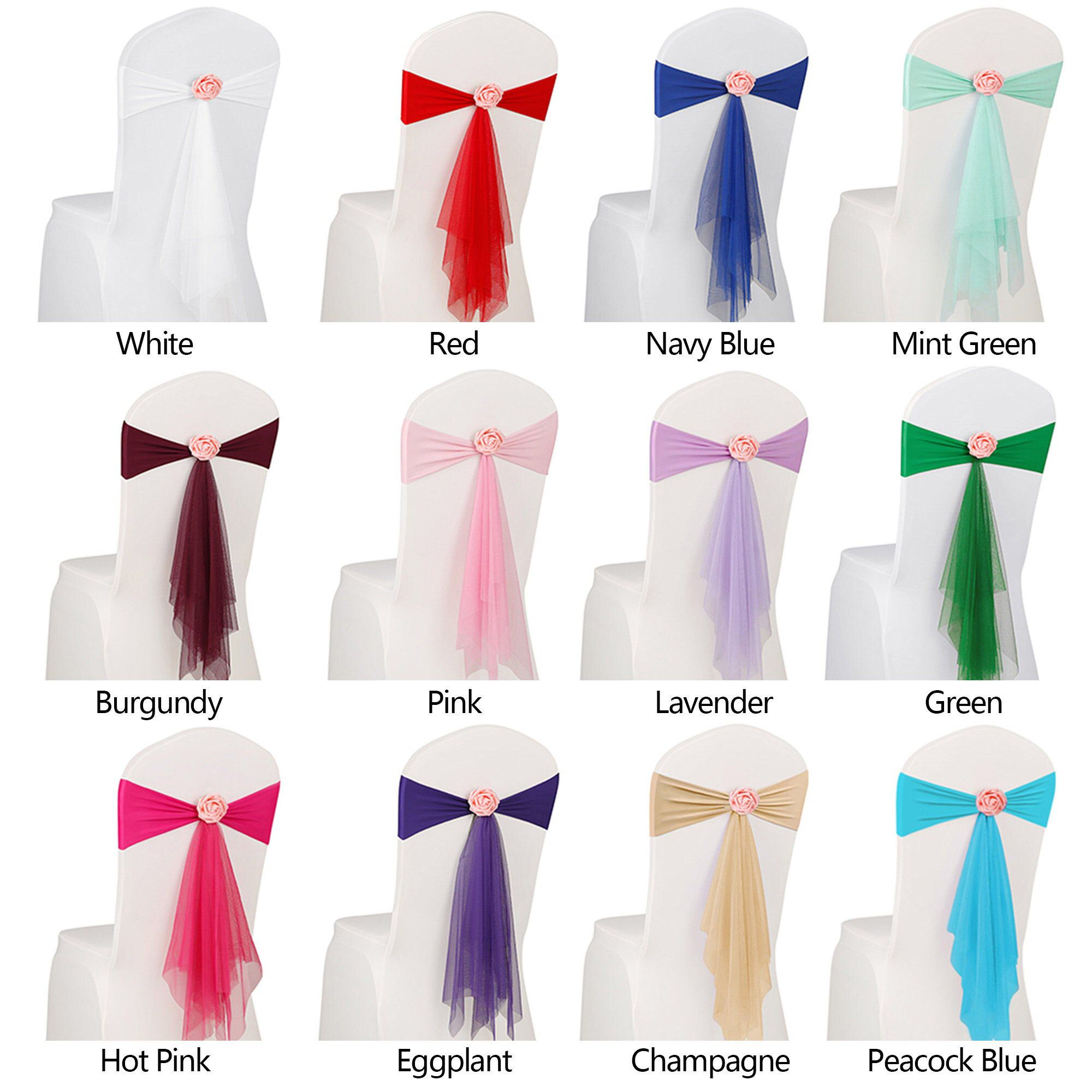10 20pcs spandex stretch wedding party chair cover band