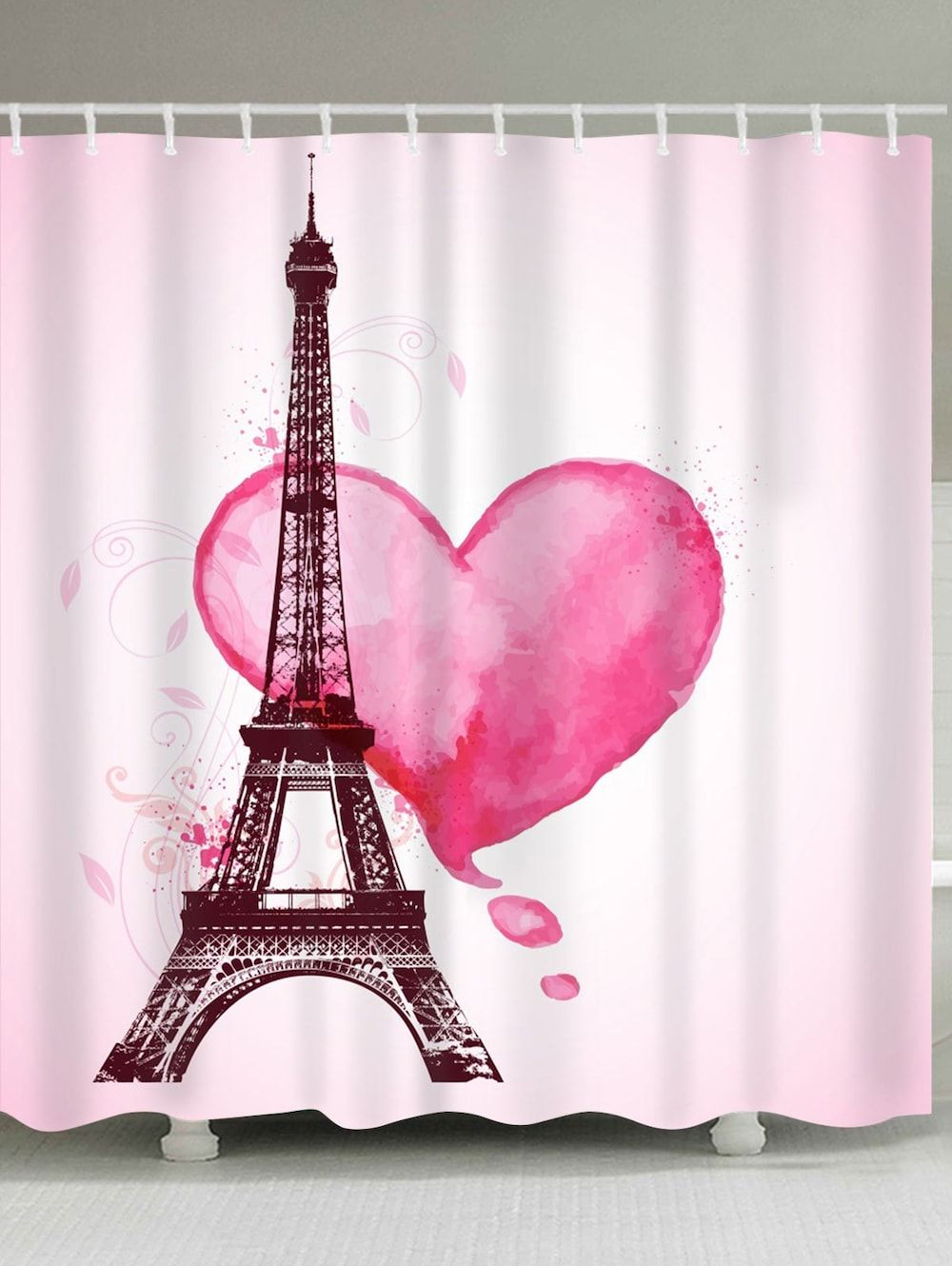 Valentine S Day Eiffel Tower Heart Print Waterproof Shower Curtain