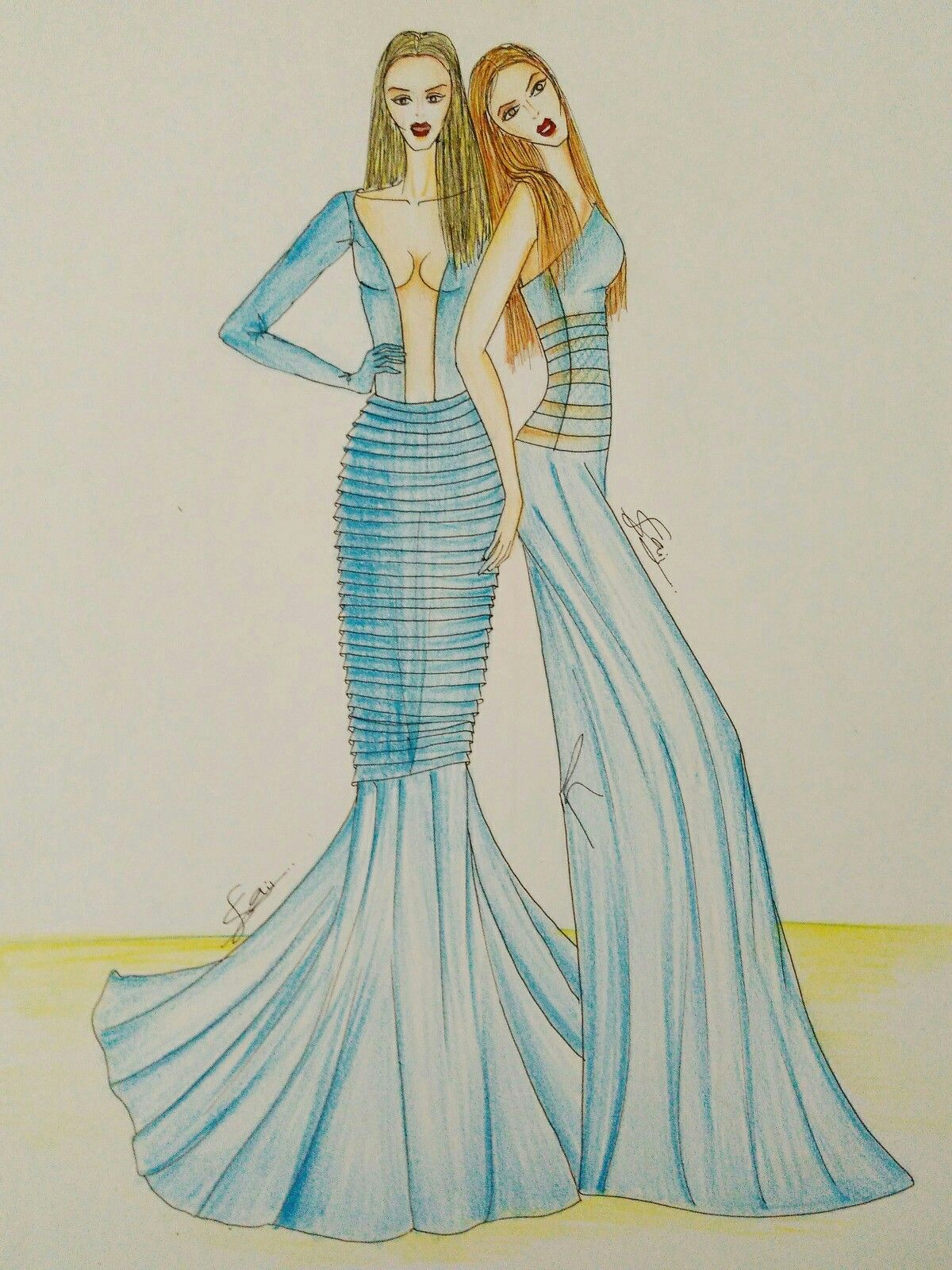 Fashion Illustration by Sanyam Jain Blue gowns, evening wear, composition, quick illustrations