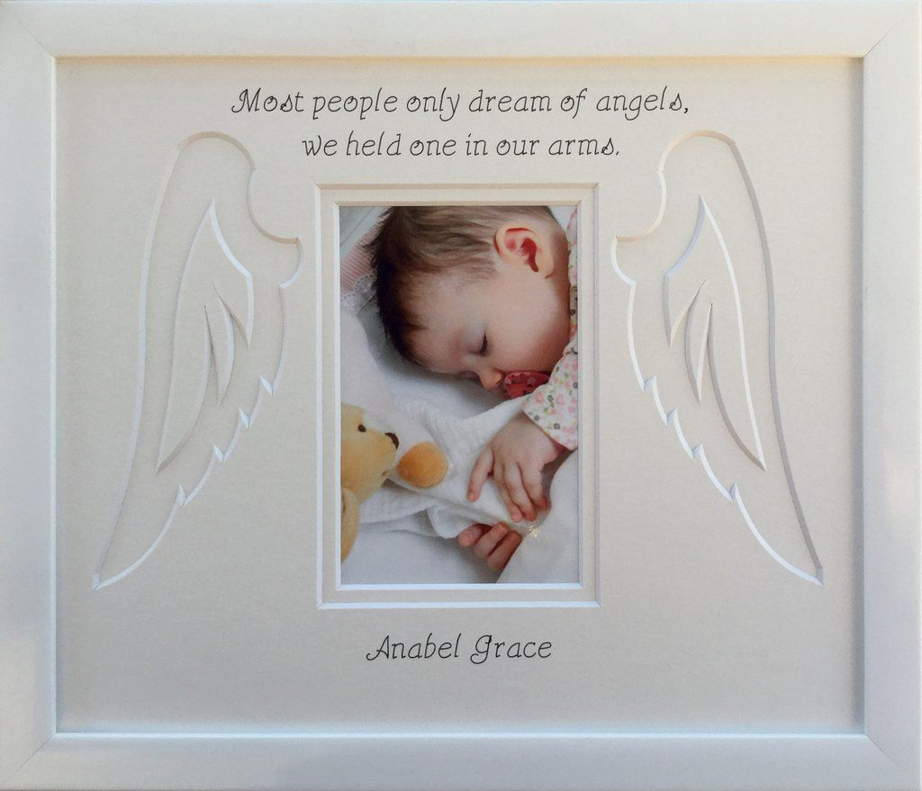 Personalised Baby Child Loss Angel Wings Memorial Photo Frame White ...