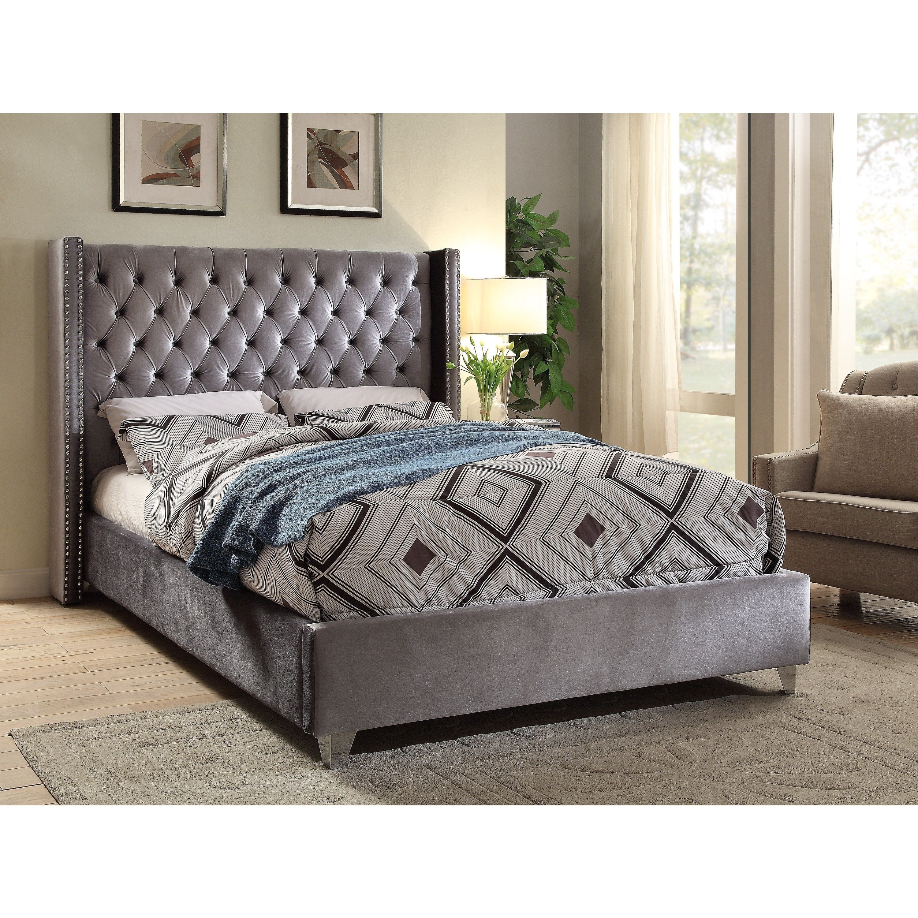 meridian aiden grey velvet bed king king velvet bed outlet