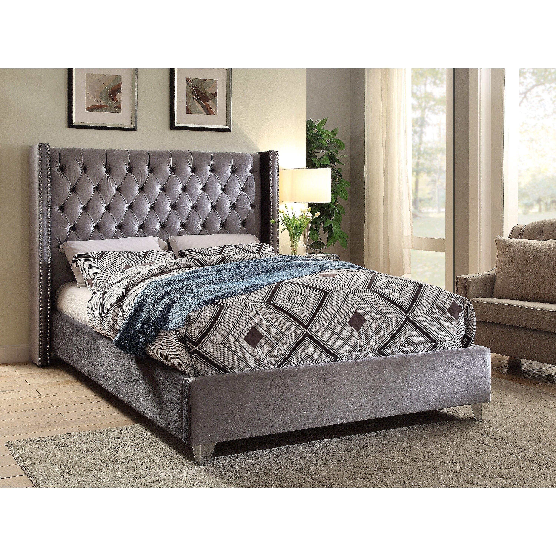 Best Aiden Grey Velvet Bed Queen Gray Meridian 400 x 300