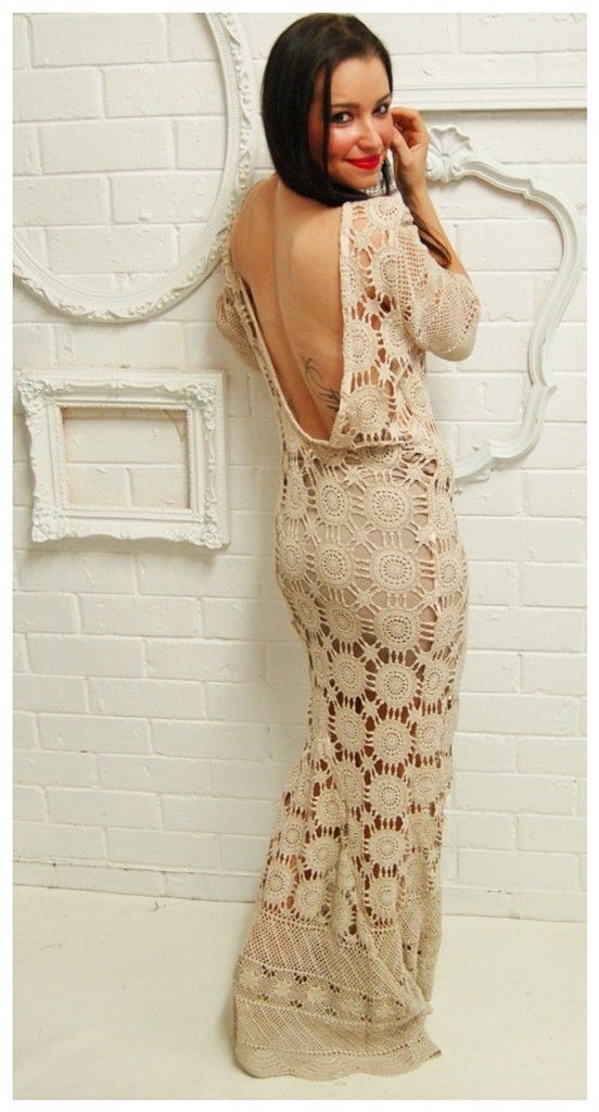 1930\'s~Style VINTAGE Crochet EVENING Gown BRIDAL Wiggle PLUNGE Back ...