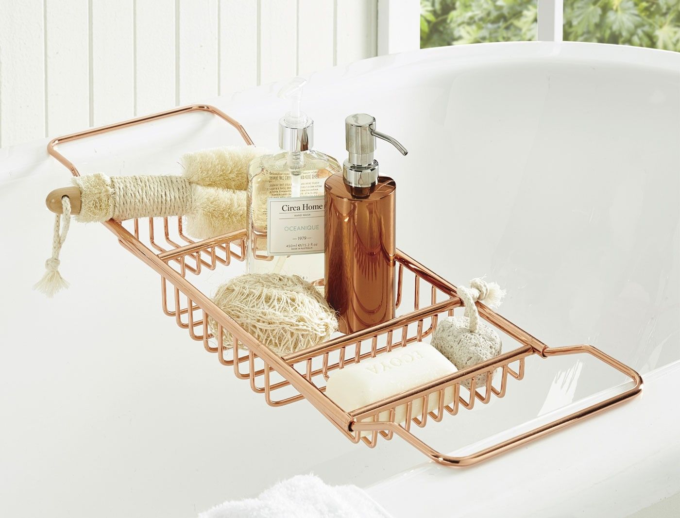 Relax in style with the copper soho bath caddy designed for Bathroom caddies accessories
