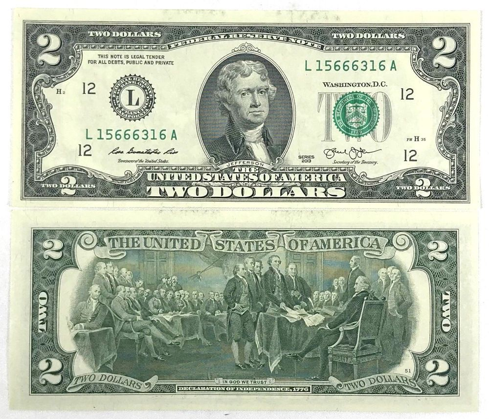 Uncirculated 2 Two Dollar Bill Note Bep Lucky Usd Fancy With Clear Case Crisp Dollar Bill Two Dollars Dollar Money