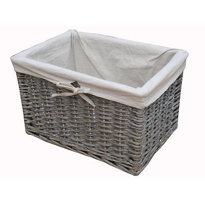Details about Grey Wash Rectangular Lined Deep Wicker ...