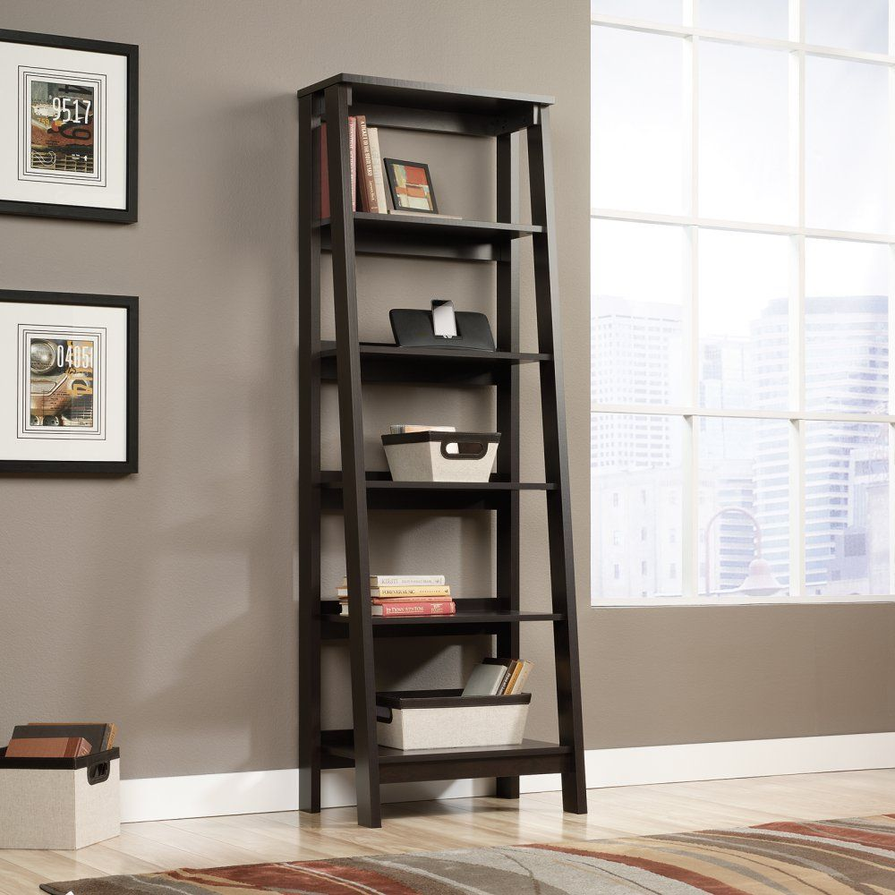Sauder Trestle 5 Shelf Bookcase Jamocha Wood
