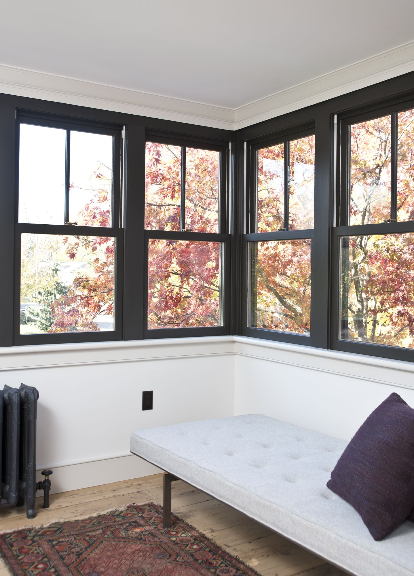 Keeping Things Exciting Black Two Over One Windows Are An Unexpected Modern Element In A Historic Home Renovation