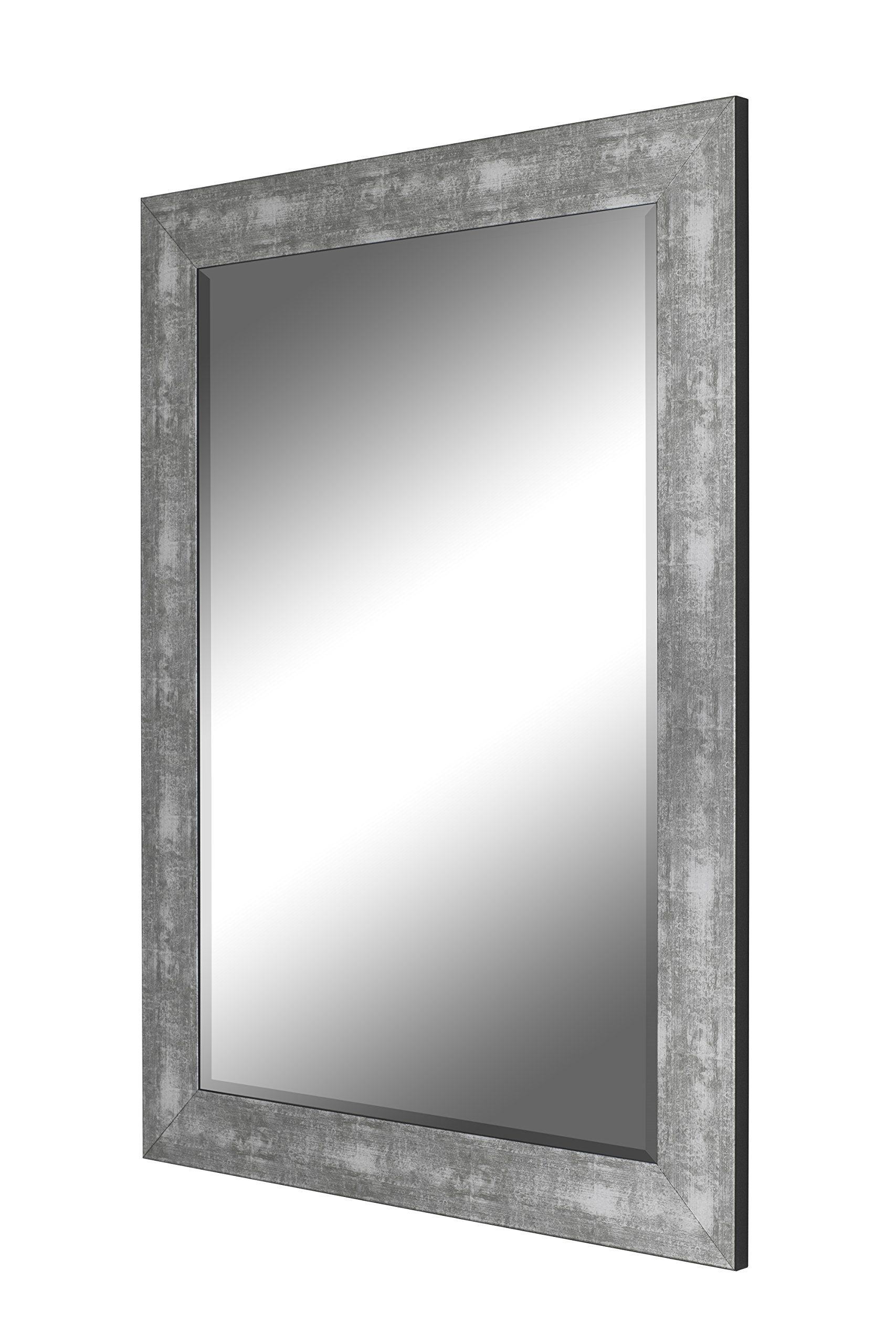 Hitch Erfield Aosta Silver Framed Wall Mirror 30 X 42 Made In Usa 4 Hooks For Vertical Or Horizontal Installation 1 Beveled Gl