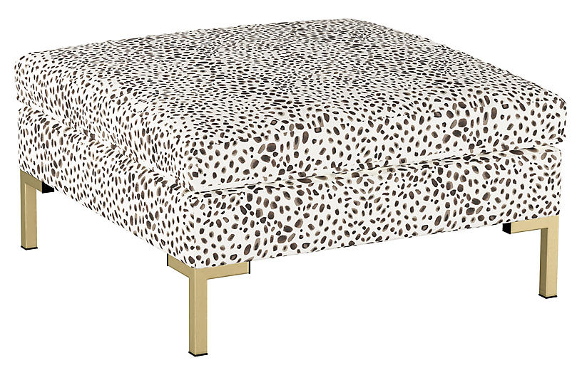 Marceau Ottoman Cream Cheetah Linen With Images Patterned