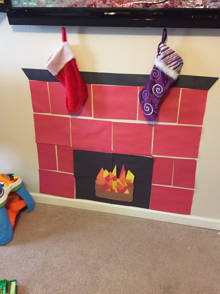 Construction Paper Fireplace Paper Christmas