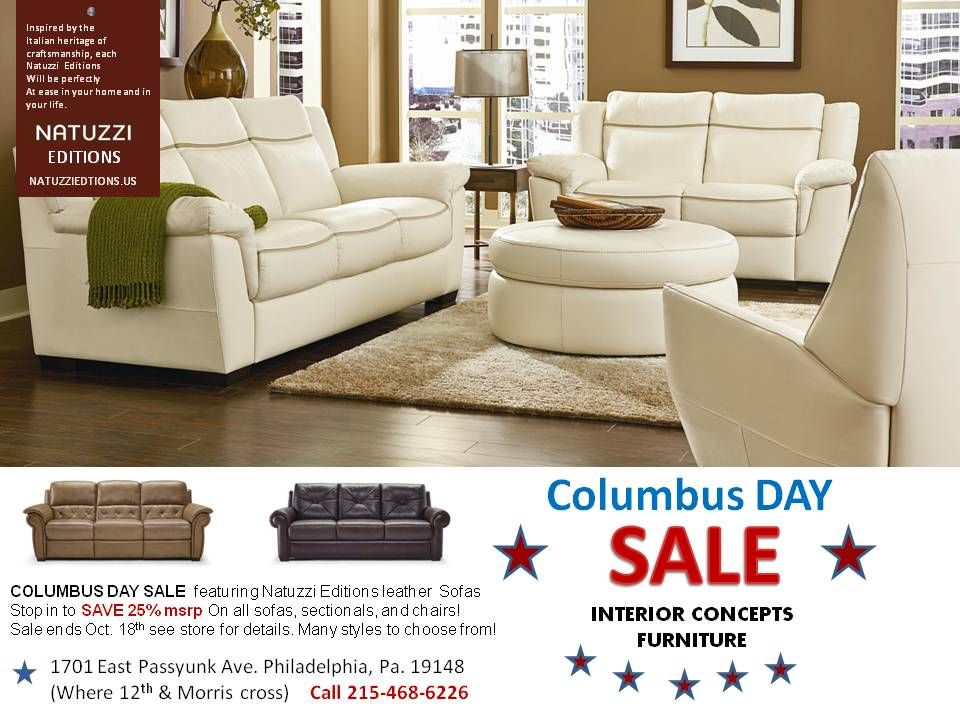Columbus Day Sale Natuzzi Editions Leather sofas at Interior ...