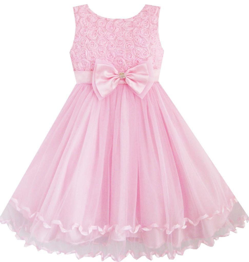 Mädchen Kleid Rosa Rose Bogen Binden Gürtel Hochzeit Party: Amazon ...