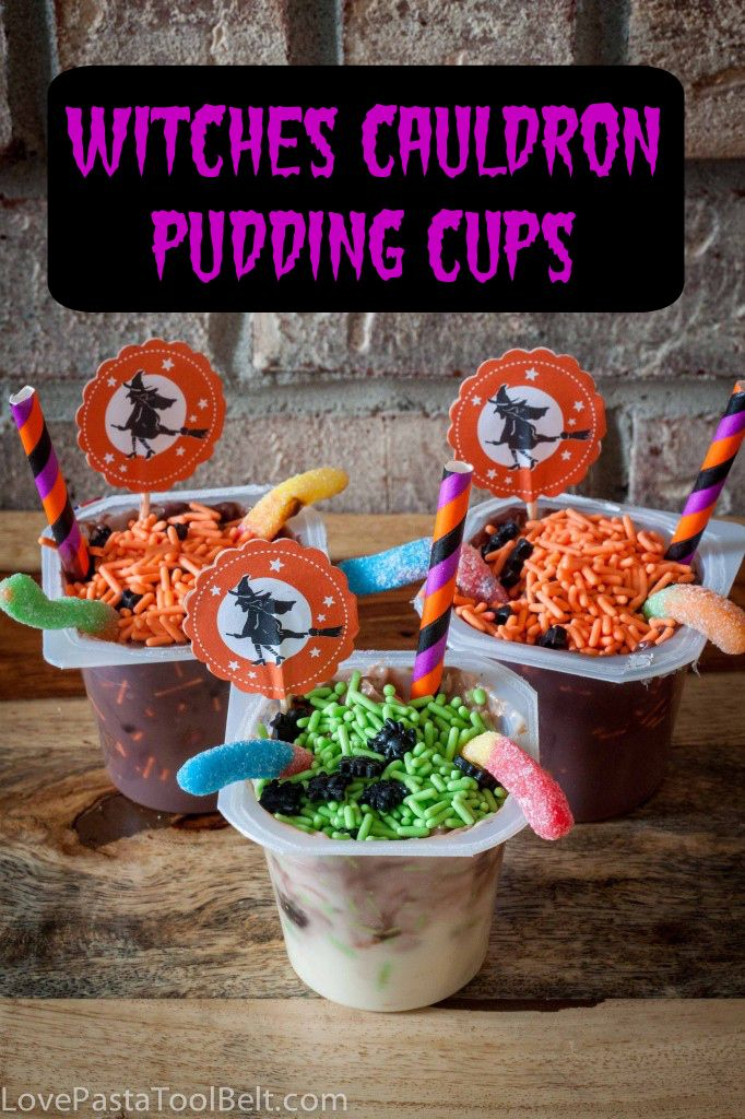 Witches Cauldron Pudding Cups are the perfect Halloween snack for - halloween party ideas for kids food