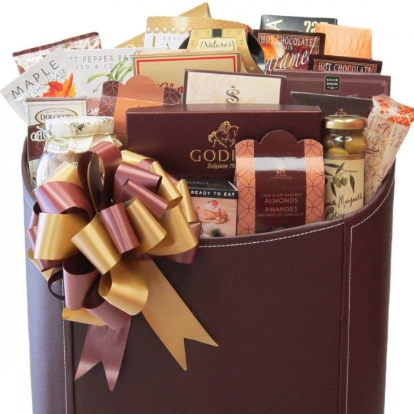 Supreme Indulgence Gift Basket - Our chocolate brown faux leather carrier featires sweet chili chutney,