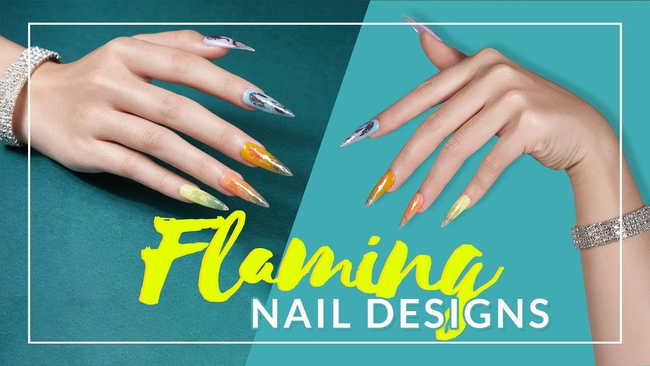 Transparent Flaming Stiletto Nails with Foils Lavis Dip