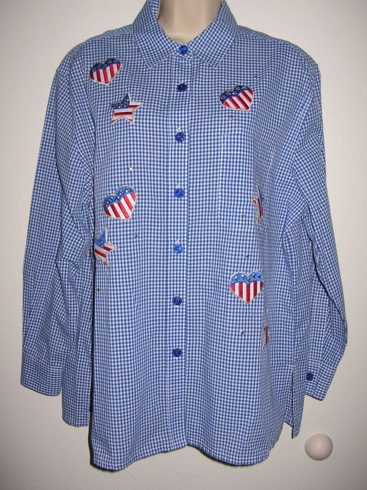 Drapers and Damons Womens patrioti Shirt  L  Blue White checkers hearts stars( H #DrapersandDamons #country #Casual