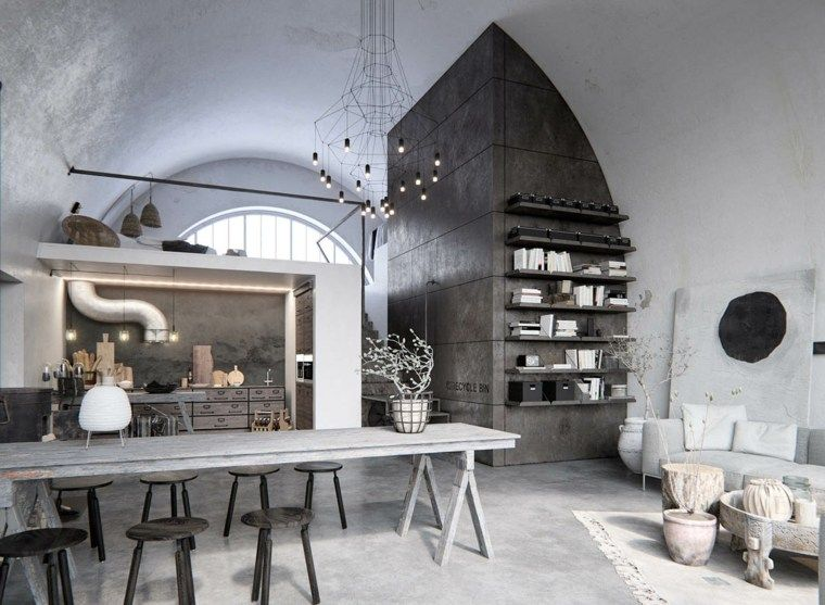 Interiores modernos: diseño que combina estilos rústicos e industriales.