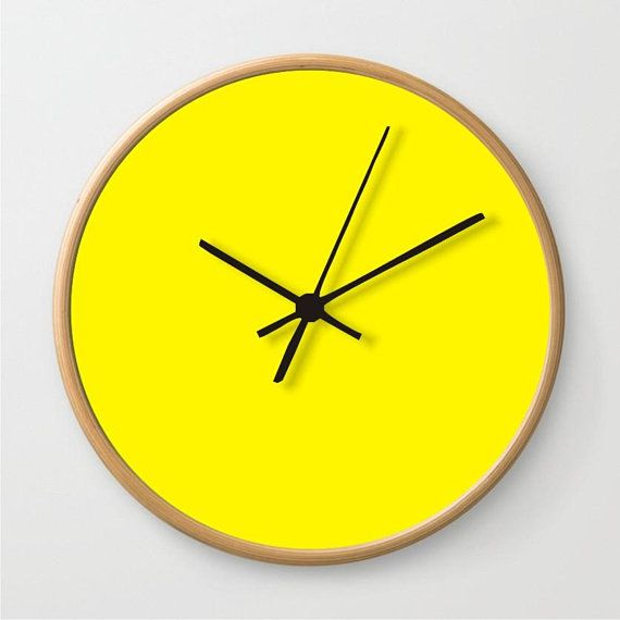 Lemon yellow wall clock,solid color clock,large round clock ...