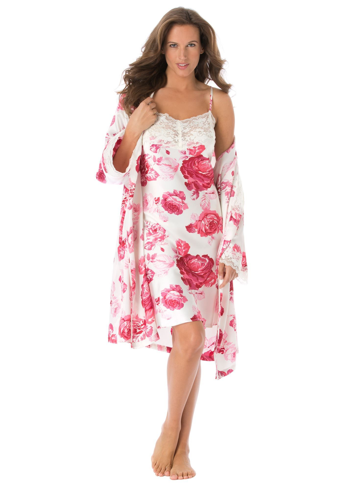 2ecb659da4349 Plus Size Nightgowns for Women. Plus Size Short satin peignoir set