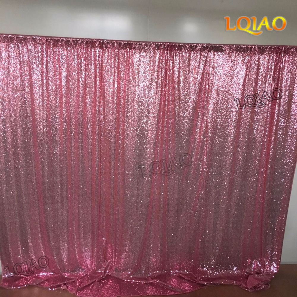 8x8ft Pink Gold Sequin Backdrop Photo Booth Curtain Shimmer Sequin