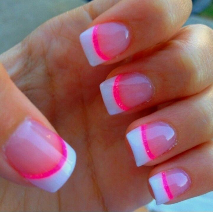 Cute French nails with a strip of pink!!! ( I think strip of green ...