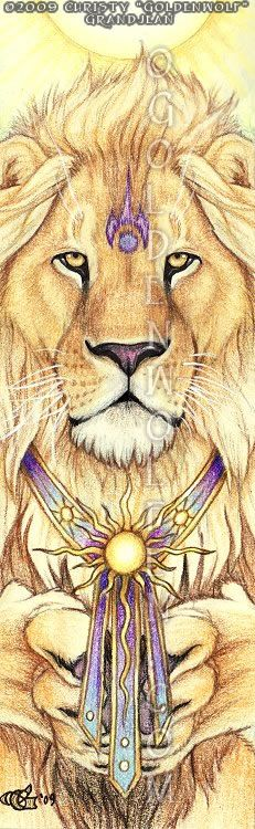 """Sun King Sovereign ruler of the sun realm, he is the Sun King. Companion piece to """"Offering"""" and """"Earth Prayer"""". Watercolor and Colored Pencil on 2 1/4″ X 7 1/4″ Bristol paper."""