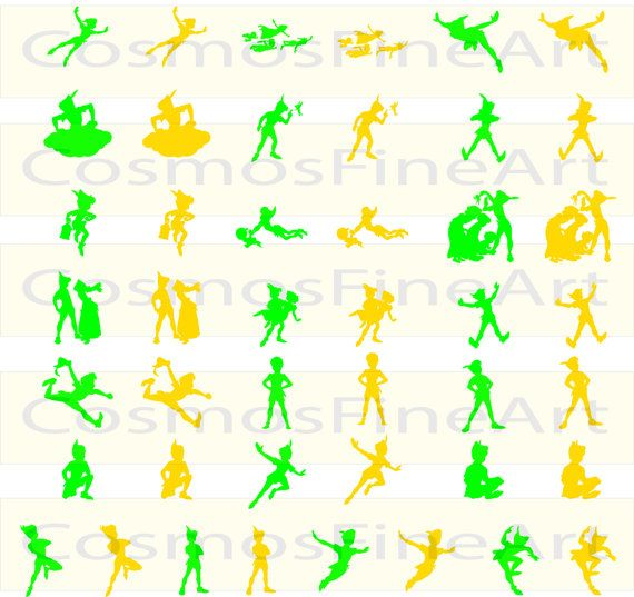 Peter pan gold and green silhouette digital by cosmosfineart peter pan gold and green silhouette digital by cosmosfineart invitations filmwisefo