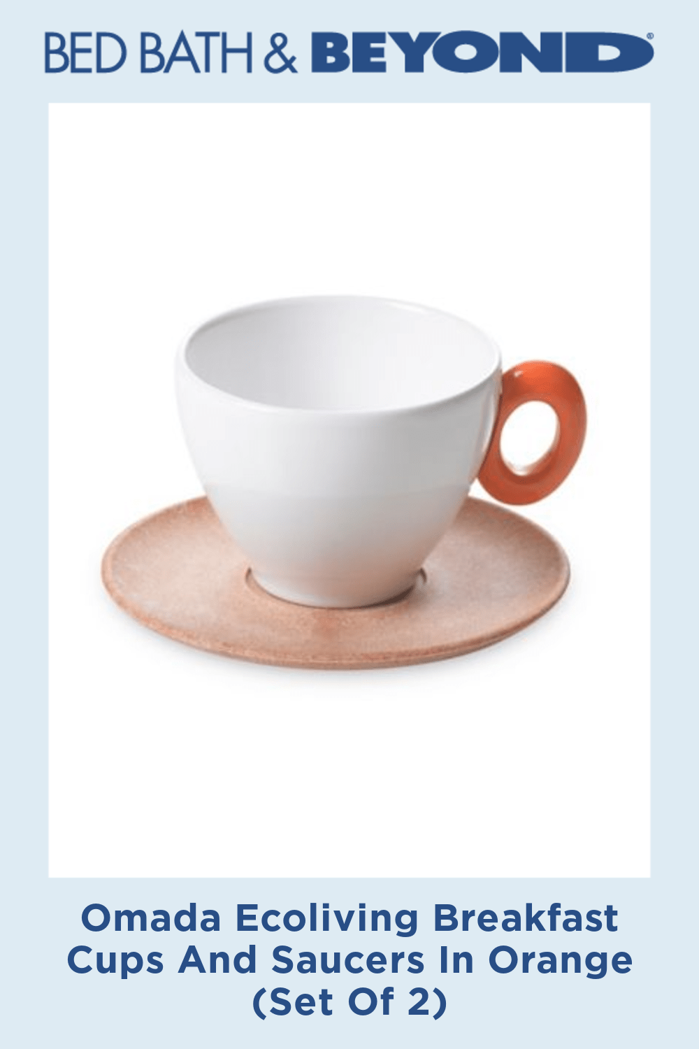Omada Ecoliving Breakfast Cups And Saucers In Orange (Set Of 2)