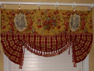 French Country Valance Balloon Shade Curtain Red Gold Waverly Toile Plaid Trim Balloon Shades Curtains Country Valances