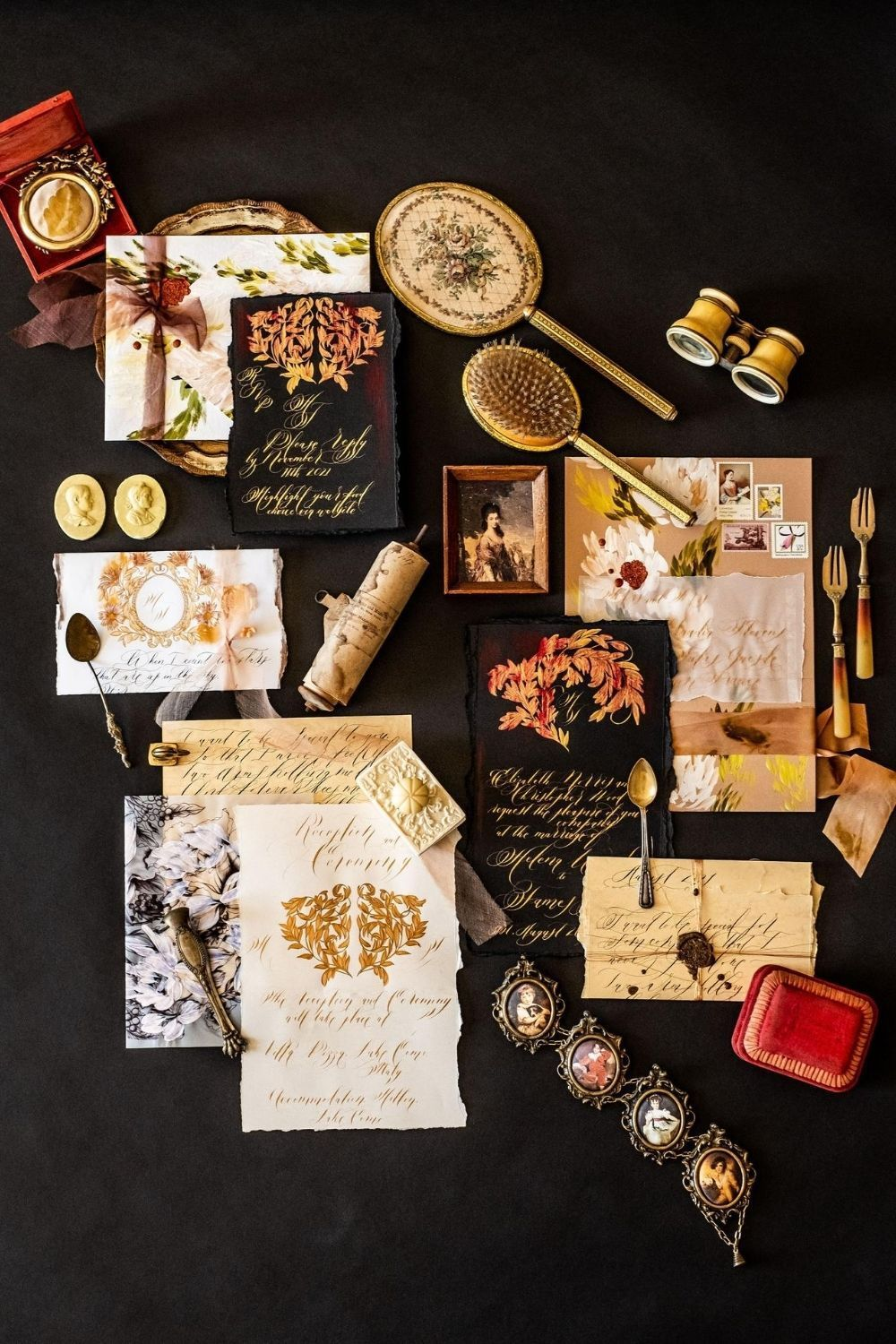 Luxury Venice Wedding Invitations Richly Hand Painted For Opulence In 2020 Moody Wedding Invitations Black Tie Wedding Invitations Creative Wedding Invitations