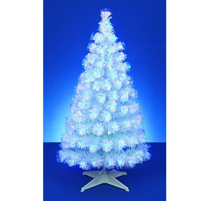 white fibre optic christmas tree with blue led lights 150cm 5ft approx