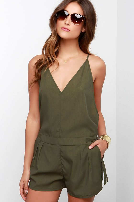 4699b4b11c3 The Love You Forever Olive Green Romper has adjustable spaghetti straps  atop a plunging triangle bodice. Attached shorts have side ties