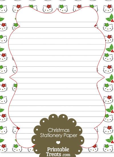 Hello Kitty Christmas Holly Stationery Paper from PrintableTreats ...