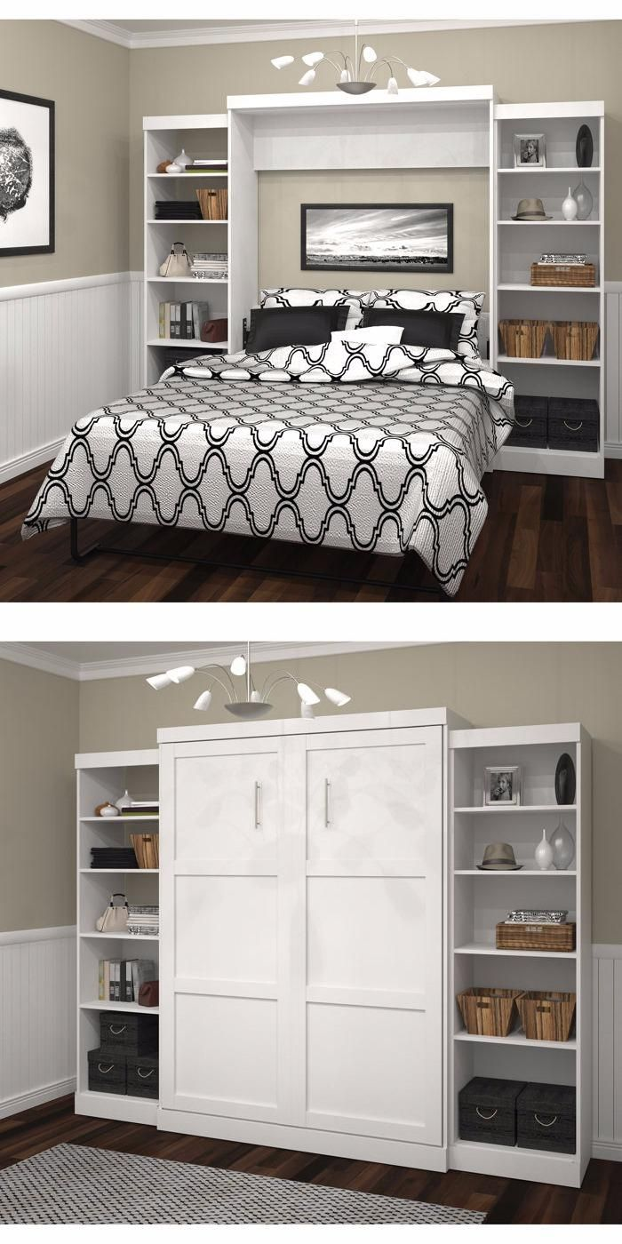 Boutique Queen Wall Bed With Two 25 Open Storage Units In White With Images Murphy Bed Diy Murphy Bed Plans Murphy Bed