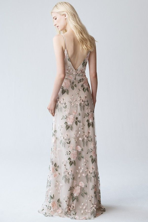 Embroidered Floral Bridesmaids Dress By Jenny Yoo Julianna In Blush Sand Dune Floral Bridesmaid Dresses Dresses Long Bridesmaid Dress