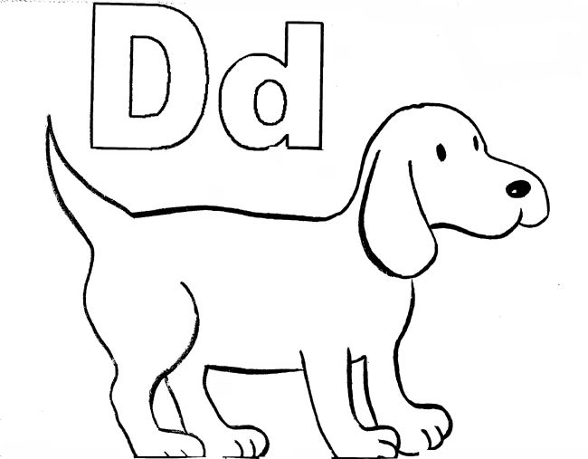 D For Dog Preschool Coloring Pages Letter D Worksheet Color